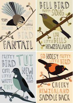 Pretty Bird Set - 4 A4 PRINTS Nz Art, Kiwiana, You Are The World, Pretty Birds, Xmas Ideas, Bird Art, Postage Stamps, Pretty Little, New Zealand