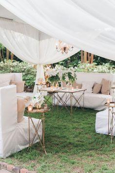 Elegant Backyard Wedding, Wedding Reception Layout, Cocktail Wedding Reception, Wedding Draping, Patio Wedding, Wedding Lounge, Outdoor Wedding Decorations, Spring Wedding, Backyard Wedding Pool