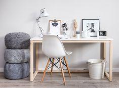 Biurko w stylu skandynawskim, nogi drewno - 100x50 - womeb - Biurka