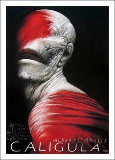 Albert Camus Caligola poster by Wieslaw Walkuski (b. Pop Art, Graphic Design Illustration, Illustration Art, Polish Movie Posters, Ballet Posters, Theatre Posters, Music Posters, Albert Camus, Illustrations And Posters