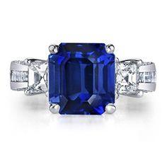 Angara.com: Emerald Cut Sapphire and Diamond Three Stone Ring in 18k White Gold  #Angara