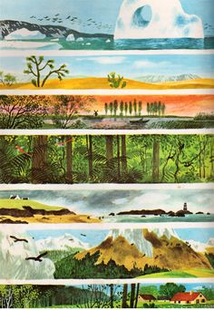 Stories from Nature: Thirty-one Animal Tales by Jane Werner Watson, illustrated by Gerda Muller The Art Of Storytelling, Magic Design, Kids Story Books, Animal Books, Animation Background, Children's Book Illustration, Gravure, Landscape Art, Art Inspo