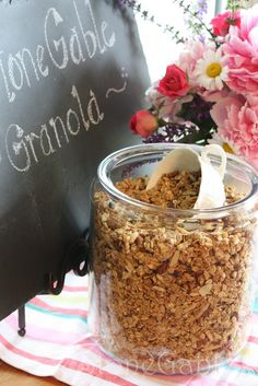 Homemade granola is easy to make and very satisfying!  And how wonderful to top it off in your home with such a lovely presentation as at StoneGable!  Enjoy this recipe.