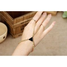 Armor Slave 2 Double Chain Enamel Triangle Harness Gold Rings to Wrist... ❤ liked on Polyvore