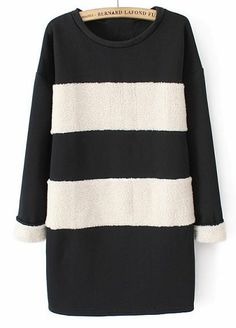 Black White Striped Long Sleeve Loose Sweatshirt EUR€26.23