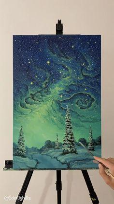 Beautiful Starry Sky Painting - Acrylic Painting Ideas - Painting Tutorials V. Canvas Painting Tutorials, Acrylic Painting Canvas, Canvas Art, Moon Painting, Galaxy Painting, Learn Painting, Small Canvas, Painting Art, Painting Videos