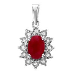1.00 Carat (ctw) Kate Middleton Diana Inspired 10K White Gold Real Round Diamond With Real Oval Red Ruby Matching...