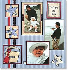 Scrapbook page with several photos- different border for each picture but colors coordinate with paper!
