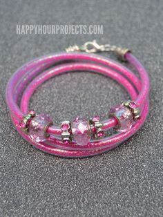Beaded Glitter Wrap Bracelet Using Plastic Tubing at www.happyhourprojects.com