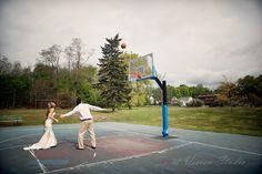 Trash the dress photography - playing basketball