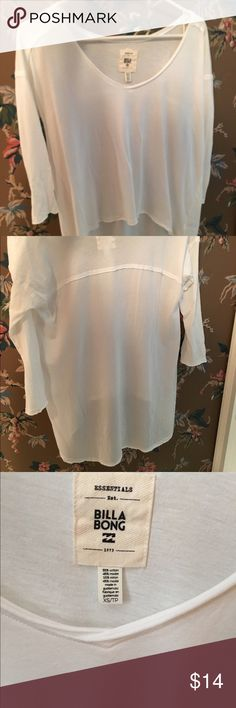White billabong hi-low v-neck top Very cute with skinny jeans. Worn once. Billabong Tops Tunics
