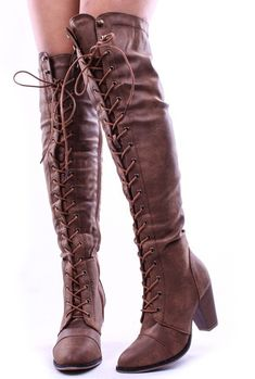 3cdaca240694ac These vegan leather boots feature a lace up design all the way to top to  just above the knee. With a slightly pointed round toe and 2 inch block  heel