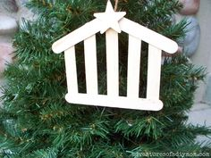Make your own stable nativity ornament. Using craft sticks, I created an simple, inexpensive ornament that is easy to make. Adding a coat of stain to the sticks gives it that rustic look that I love. Create your own. All you need is a few supplies and a couple minutes.