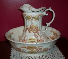 Very Large Antique English Ironstone Wash Bowl & Pitcher, Fieldings 1879-82 - For sale on Ruby Lane $300.00