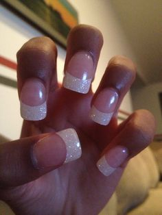 Sparkle white tip nails
