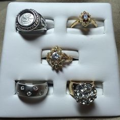 18k Goldplated Rings Vintage Lot Of 5  Size 5, CZ, American Ring Co ( 162) #AmericanRingCompany