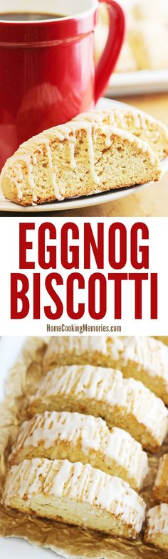 Eggnog Biscotti recipe! This Christmas cookie is great for pairing (and dunking!) with a cup of coffee, tea, or hot chocolate. Not only is eggnog IN the cookie, but it has a sweet eggnog glaze on top too.