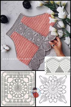 Crochet Bra, Crochet Crop Top, Crochet Blouse, Crochet Chart, Thread Crochet, Crochet Motif, Crochet Doilies, Crochet Stitches, Crochet Patterns