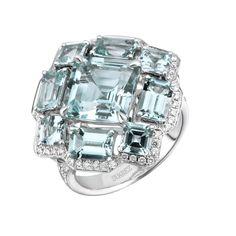 Sortija Edición Limitada Art Decó de oro blanco con aguamarinas y diamantes blancos de Suárez.