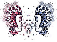 Amibe in love / Personnage tête face à face par AnneCecileArt
