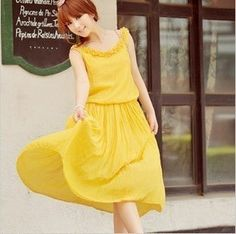 Pure cotton bohemia yellow maxi dress - US$ 44.11