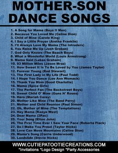 Looking for good mother-son dance songs? We've compiled a list of the top 30 mother-son dance songs for Weddings and Mitzvahs. Wedding Song List, Wedding Party Songs, Wedding Dance Songs, Wedding Playlist, First Dance Songs, Wedding Music, Wedding Reception, Dream Wedding, Wedding Themes