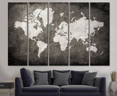 Canvas print black and white world map wall art ready to hang large world map canvas print wall art 13 or 5 panel por zellartco gumiabroncs Images