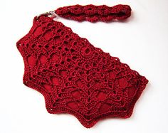 Red Clutch Bag Red Wristlet Purse Crochet Purse by KeraSoftwear