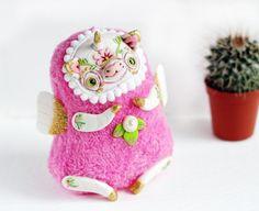 unicorn art doll fantasy animal ooak toy pink от LullabyForFox