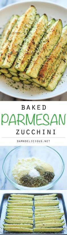Baked Parmesan Zucchini - Crisp, tender zucchini sticks oven-roasted to perfection. It's healthy, nutritious and completely addictive!#healthyfood #esyhealthyfoods Healthy Meals, Healthy Dinner Recipes, Healthy Cooking, Appetizer Recipes, Whole Food Recipes, Vegetarian Recipes, Cooking Recipes, Zucchini Crisps, Zucchini Sticks