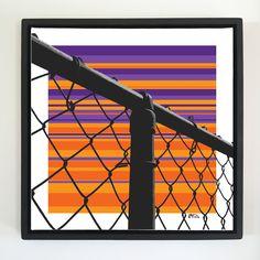 "Overflow series: ""Fence"" 24 x 24 inch, digital art & gloss and matte gel on stretched canvas. 26.5 x 26.5 inch, float frame - black flat. ---------------------------------------- #popart #popartist #digitalart #art #artist #contemporaryart #colorfield #abstractart #gloss #matte #art #canvas #jonsavagegallery"