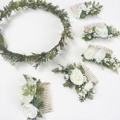 Bridal Flower Crown and Bridesmaids Flower Combs, Ferns, Ranunculus and Seeded Eucalyptus. Custom order by Oh Dina!