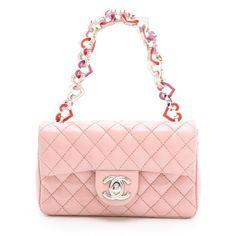 WGACA Vintage Chanel Mini Bag (14,555 GTQ) ❤ liked on Polyvore featuring bags, handbags, bolsas, chanel, sac, pink, crossbody, leather crossbody purse, vintage leather purse and crossbody purses