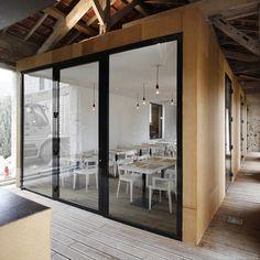 Restaurant À L'envi, Charroux architecture by Comac - contemporary interior built inside a 17th century barn
