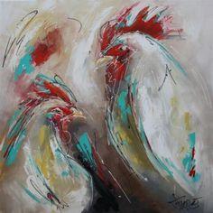 Mooi figuratief en modern afgebeelde kippen. De kippen zijn afgebeeld tegen een donker getinte achtergrond. Door de contouren blijven de kippen duidelijk herkenbaar terwijl de overige kleuren in elkaar overgaan.