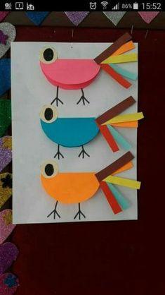 Animal crafts, easter crafts, paper crafts for kids, preschool activities. Paper Crafts For Kids, Fun Crafts, Diy And Crafts, Arts And Crafts, Bird Crafts, Animal Crafts, Easter Crafts, Toddler Art, Toddler Crafts