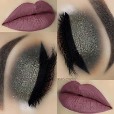 Dark lips makeup looks winter, winter make up looks, glitter eye ma Eye Makeup Designs, Eye Makeup Tips, Makeup Ideas, Pixi Beauty, Beauty Makeup, Red Lip Makeup, Makeup For Brown Eyes, Makeup With Dark Lips, Dark Makeup Looks