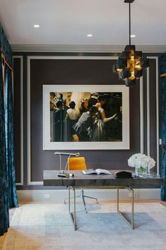 Dramatic large photo print.  Like it.  Minus the contrasting wall trim.