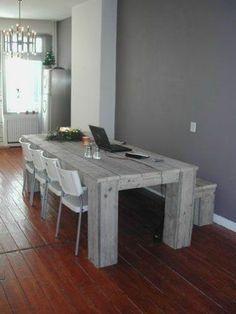 oud eiken tafel gemaakt van wagonplanken | huis | pinterest | wood, Deco ideeën