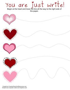 curved line tracing - Valentines Day activities- Toddler