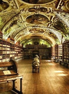 I have been to Prague. Do not remember seeing the Library of Strahov Monastery, Prague. May need to go back. Beautiful Library, Dream Library, Oh The Places You'll Go, Places To Travel, Beautiful Buildings, Beautiful Places, Book Nooks, Reading Nooks, Czech Republic