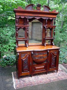 Magnificent Antique English Arts & Crafts/Nouveau Buffet w/Raised Gallery Circa 1885