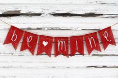Valentines Day Decor, Valentines Banner, Valentines Burlap Garland Bunting, Be Mine Banner, Rustic Valentines, Happy Valentines Photo Prop #valentinesday #ad