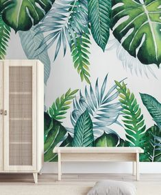 Palm Leaf Wallpaper, Plant Wallpaper, Tropical Wallpaper, More Wallpaper, Wall Wallpaper, Decoration Entree, Kids Room Murals, Wall Painting Decor, Tropical Leaves