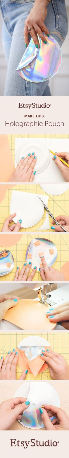 Use holographic leatherette and a sewing machine to create an eye-catching pouch. You can make this accessory whatever size you want – simply trace a mug, plate or bowl to get your circle shape. Let's get making.