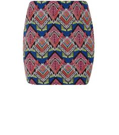 Plus Size – Schlauchrock in Schwarz und Blau mit afrikanischem Muster