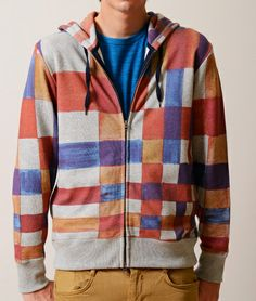 Collage Pattern Long Sleeve Zip Parka(Colorful Blocks)
