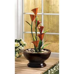 Orange Calla Lily Outdoor Water Fountain | SAVE $70!
