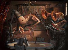 Serenade With Strings by Adrian Borda, Oil on canvas, 60 x 80 cm. Dream Art, Art For Art Sake, Weird Art, Art Paintings, Art Forms, Oil On Canvas, Art Gallery, Fantasy, Fine Art