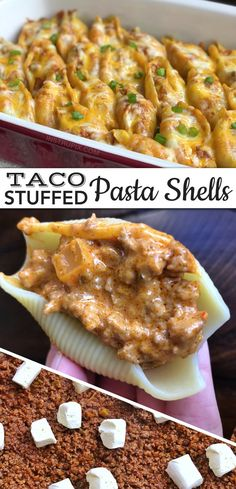 Looking for quick and easy dinner recipes for the family? These ground beef taco pasta stuffed shells are always a hit, even for picky kids! The entire family will love this simple and cheap main dish Stuffed Shells Recipe, Stuffed Pasta Shells, Ground Beef Stuffed Shells, Mexican Stuffed Shells, Easy Dinner Recipes, Easy Meals, Taco Ideas For Dinner, Taco Night Ideas, Meal Ideas